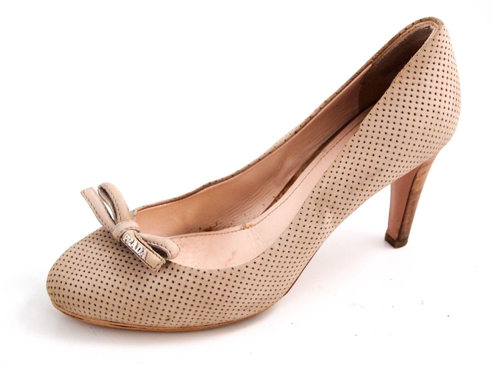 Prada Tacón Alto Zapatos de de de salón, Beige Cuero Perforado, mujeres tamaño nos 8.5 EU 38.5  670  primera vez respuesta
