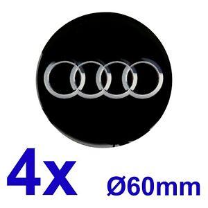 Audi-1-Satz-4Stk-Felgendeckel-Nabendeckel-Radzierblenden-Aufkleber-60mm