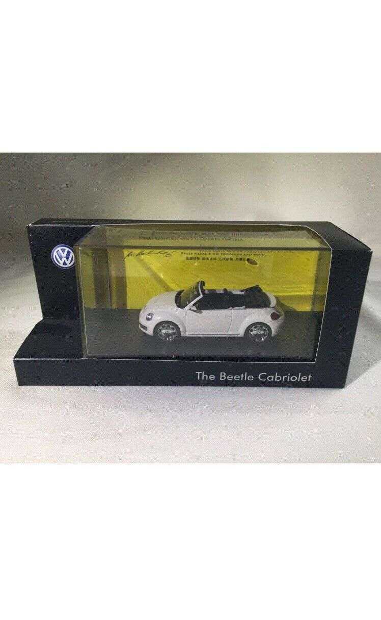 VERY RARE VW BEETLE 5C TDI TSI CABRIOLET PURE WHITE 1 43 SCHUCO (DEALER MODEL)