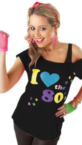 Femme I Love The 80 S Déguisement Enterrement Vie Jeune Fille Rétro T-shirt Top New 8-26