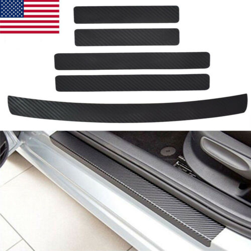 3D 5*Car Door Sill Scuff Welcome Pedal Protect Carbon Fiber Stickers Accessories