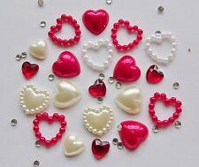 "20pc x ""Valentines Red Hearts Pearls & Rhinestones"" 3D Nail Art Craft Decoration"