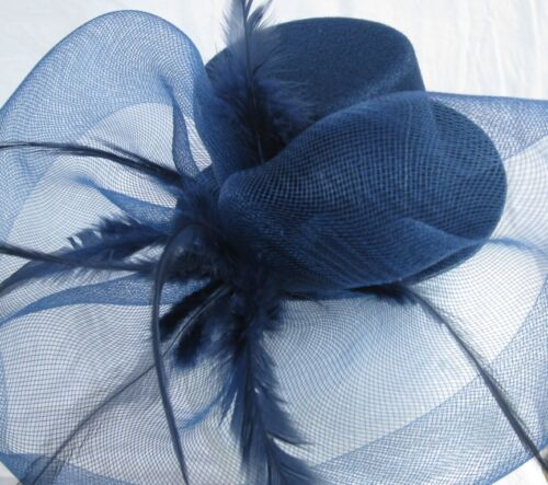 navy mini top hat fascinator feather headband wedding