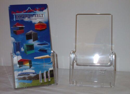 50 x 1//3 A4  Acryl Werbeaufsteller Prospektständer Flyer Display Tischaufsteller