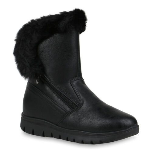 Damen Stiefeletten Winter Boots Warm Gefütterte Kunstfell Stiefel 898686 Top