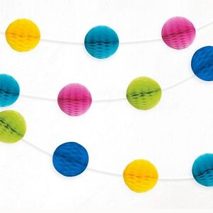 Multi-Mini-Honeycomb-Ball-Bright-Paper-Garland-Party-Banner-Decoration-7ft