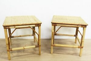 Pair-of-Vintage-Bamboo-amp-Rattan-Top-Side-or-Plant-Tables-E-0166