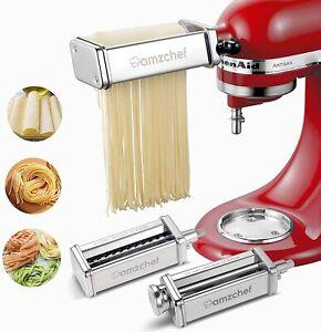 Nudelteigroller für KitchenAid Küchenmaschine Dreiteiliger Nudelvorsatz Amzchef