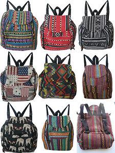 5221c6a1ab64c Das Bild wird geladen Stoff-Rucksack-Backpack-klein-hand-gewebt-Baumwolle- Damen-
