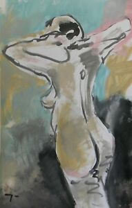 JOSE-TRUJILLO-Large-Acrylic-Painting-ABSTRACT-Nude-Figure-Expressionist-26x40-034