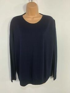 WOMENS-MARKS-amp-SPENCER-BLUE-LONG-SLEEVE-CASUAL-PULLOVER-JUMPER-SWEATER-SIZE-UK-20