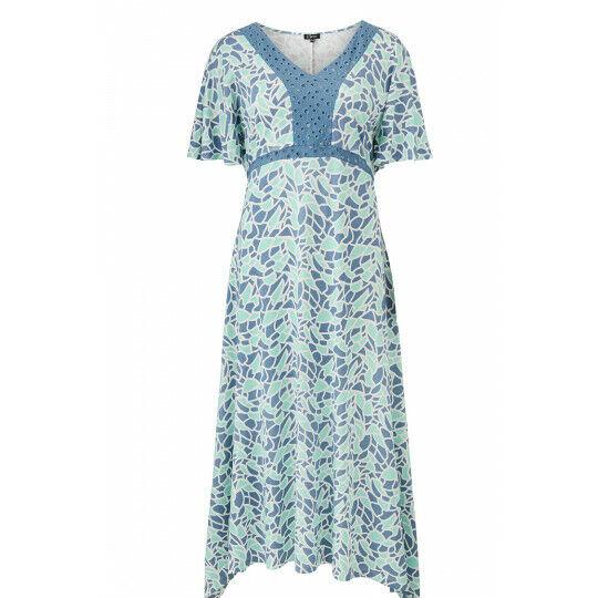 Emreco Hinksey Mosaic Print Dress with Lace - Aero - Größes 10 12 14 16 - BNWT
