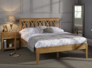 Hevea Hard Wood Bed Frame Honey Oak Finish Or Opal White Ornate