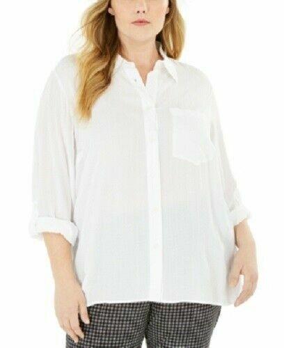Michael Kors White Textured Soft Viscose Women's Plus Size 2X Tunic Shirt NEW