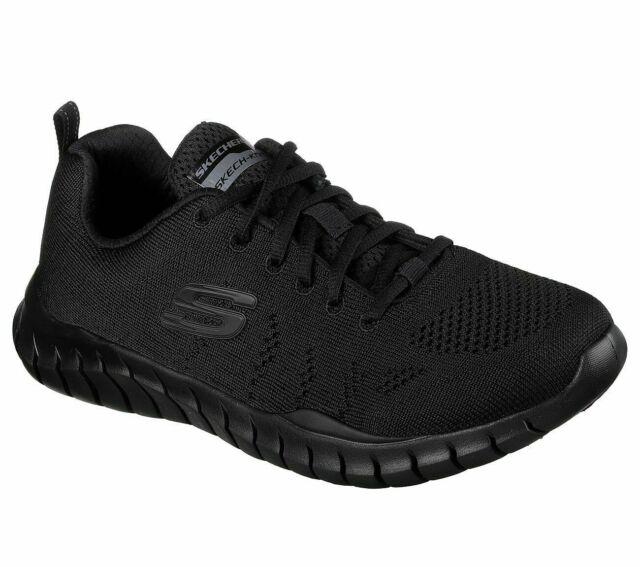 Skechers Black Shoe Men's Memory Foam Mesh Sport Walk Train Comfort Casual 52819