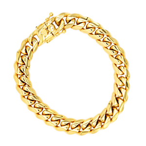Cuban-Link-Bracelet-18KT-Gold-Plated-Stainless-Steel-Open-Box-Clasp-Mens-Jewelry