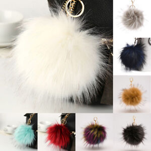 Fluffy-Large-16cm-Faux-Fox-Fur-PomPom-Ball-Car-Handbag-Keychain-Key-Ring-Oma