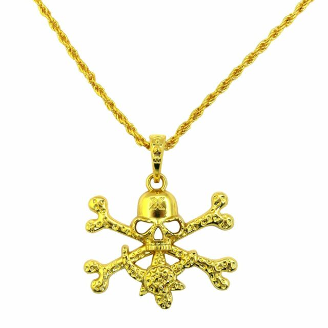 Skull Crossbone Gold Pirate Treasure Pendant Necklace Fancy Dress Captain Jack