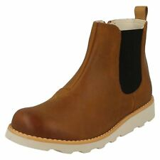 BNIB Clarks Boys Tri Mimo Tan Leather Boots F//G Fitting