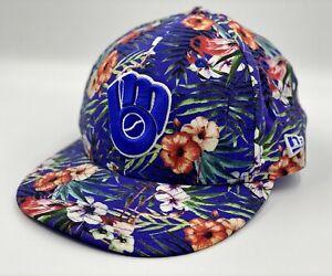 Raro-Milwaukee-Brewers-Beisbol-Sombrero-New-Era-9-Fifty-Gorra-Snapback-Floral-Hawaiano