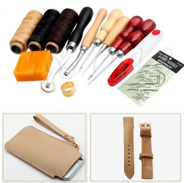 13Pcs Leather Craft Hand Stitching Sewing Tool Thread Waxed Thimble Kit A²