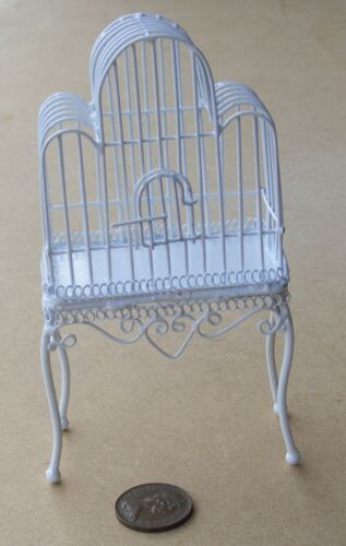 1:12 Scale White Painted Metal Cage On A Stand Tumdee Dolls House Miniature