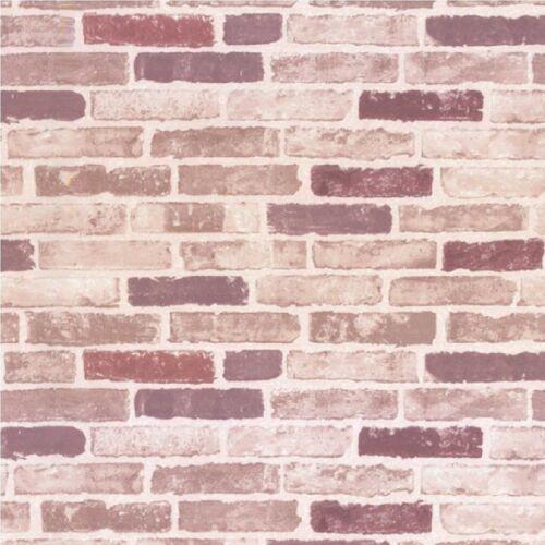 ERISMANN EMBOSSED RED BEIGE BRICK WALL PASTE THE WALL VINYL WALLPAPER 6703-06