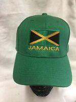 Jamaica Green Baseball Cap With Flag Badge Rasta Roots Reggae