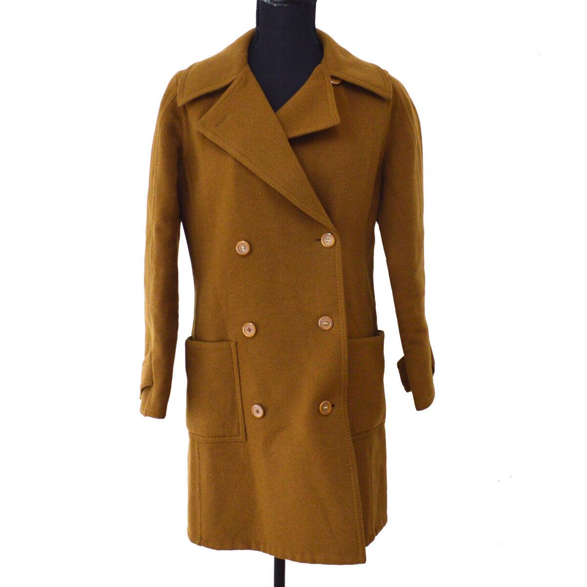 Authentic HERMES Vintage Logos Long Sleeve Coat Jacket braun S08019k