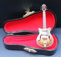 1:12th Brown Electric Guitar + Black Case Dolls House Miniature Instrument 552