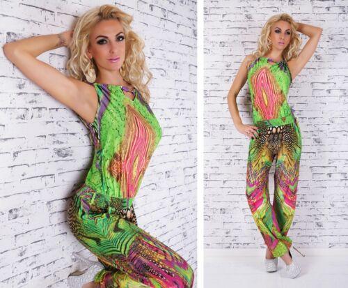 Damen Overall lässiger Sommer Jumpsuit Hose Strand Party Hosenanzug bunt 34-40