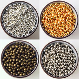 2mm-3mm-4mm-6mm-8mm-SILVER-Bronze-Gold-Metal-Round-Ball-Smooth-SPACER-BEADS-DIY
