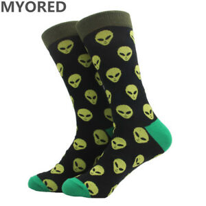 3c52c8b4eef7 NEW Alien Dress Socks Novelty Men's Black Green Neon Space Ufo Sox ...