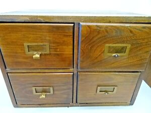 Image Is Loading Vintage 4 Drawer Wooden Index Card File Cabinet