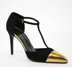 New Gucci Suede T-Strap Colorblock Cap Toe Heel Pump Black Gold ...
