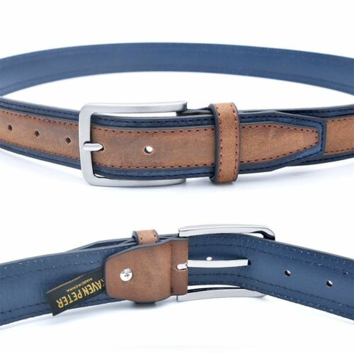 Casual Patchwork Men Belt Trousers Brown Navy Grey Faux Leather Accessories