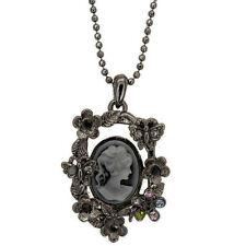 """Vintage Victorian Design Queen Goth Lady Cameo Pendant Necklace Jewelry New 18"""""""