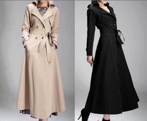 Elegant Women/'s Lady Full-Length Maxi Trench Coat Double Breasted Belt Jacket SZ