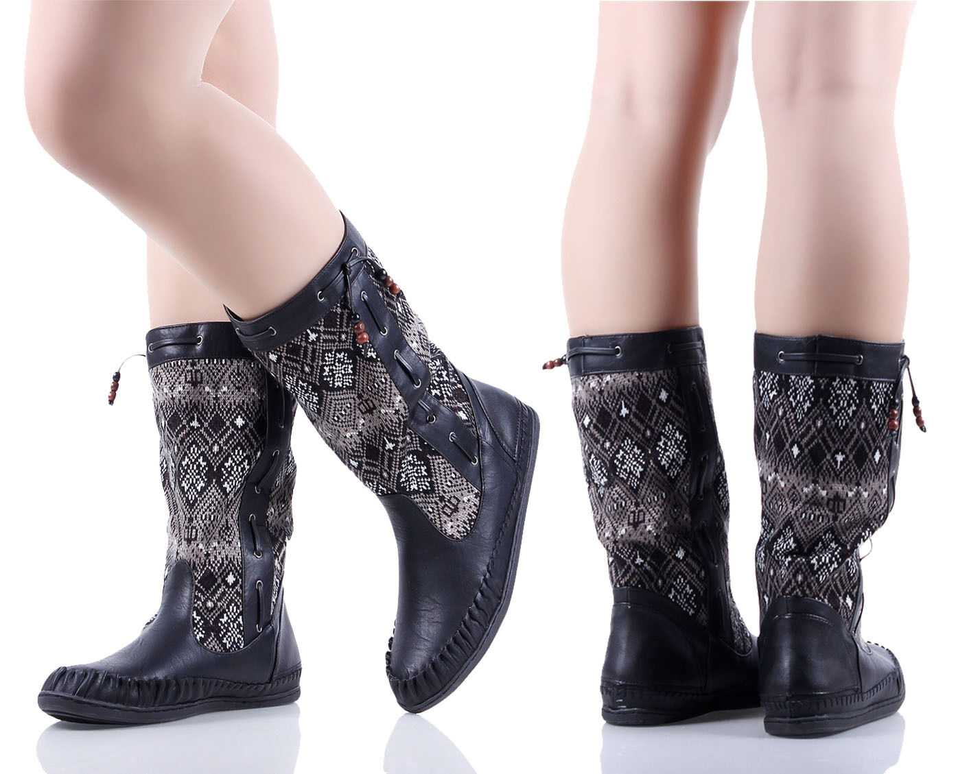 BAMBOO Black New Fashion Womens Mid-Calf Boots Flat Heel Shoes Size 5.5