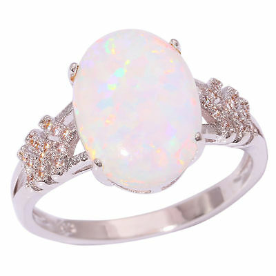 White Fire Opal Zircon Silver Women Jewelry Gemstone Ring Size 7 10 11 OJ8613