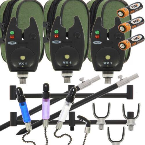 3 x Bite Alarms 2 X Banksticks Buzz Bars and 3 x Rod Rests with Bite Indicators
