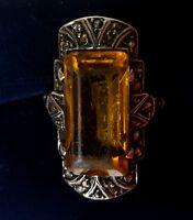 Art Deco sterling silver marcasite orange stone ring