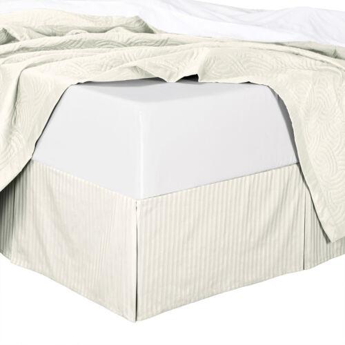 "King Size 300TC Cotton Split Corners Damask Stripe Bed Skirts with 14/"" Drop"