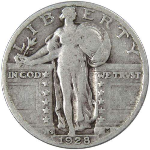 1928 S 25c Standing Liberty Silver Quarter US Coin Average Circulated