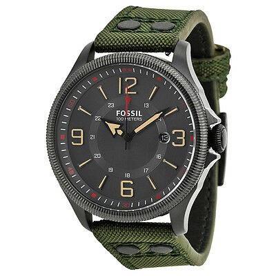 Fossil Recruiter Grey Dial Green Nylon Strap Mens Watch FS4979