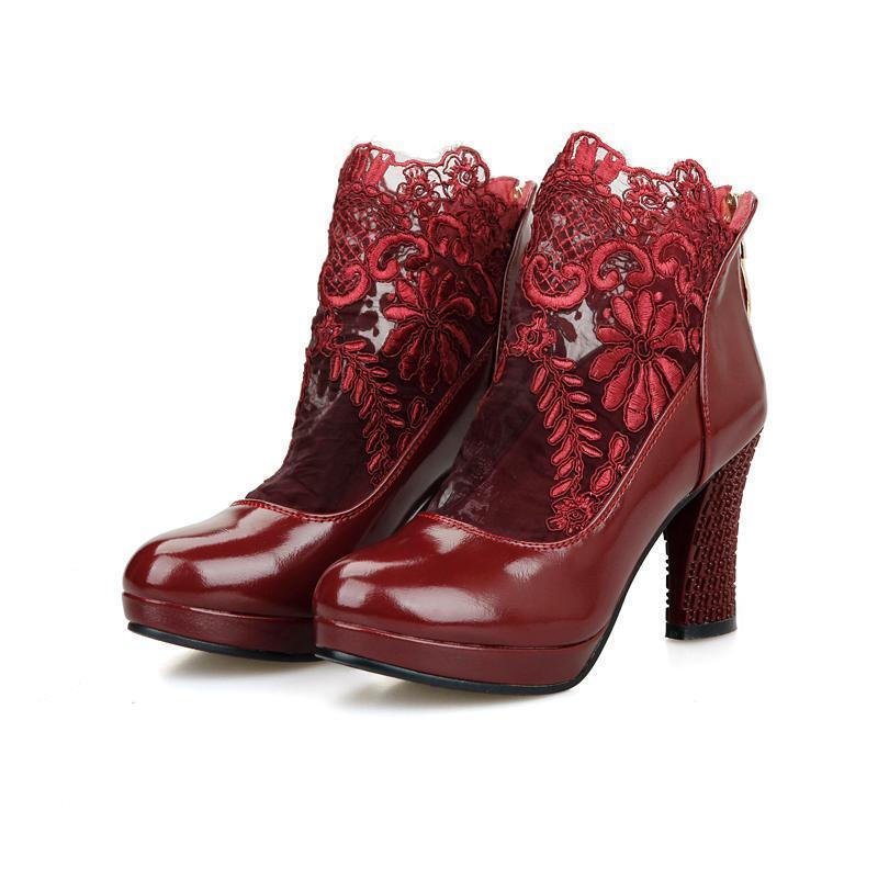 Größe 32-48 Damen high heel Pumps Lace up Stiefeletten Pumps heel schuhe Schwarz Rot Weiß 6b6ca1