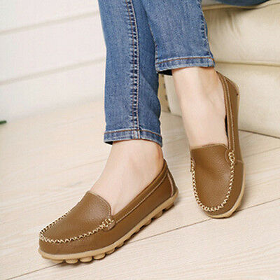 Fashion Women Flats Shoes Slip On Round Toe Shoes Casual Loafers Leather