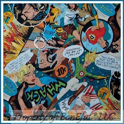 BonEful FABRIC FQ Cotton Quilt Super Hero Comic Strip Decor Room Unisex Girl Boy
