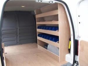 vw caddy maxi van racking plywood shelving with storage bins ebay