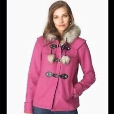 JUICY COUTURE PINK WOOL TOGGLE  FAUX FUR POM POM HOOD COAT JACKET  SIZE M NWOT